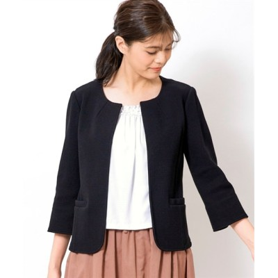 大きいサイズ 前当て付綿100%7分袖ノーカラージャケット