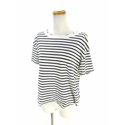 【中古】ザラ ZARA Tシャツ カットソー 半袖 ボーダー M ホワイト ブラック 白 黒 レディース