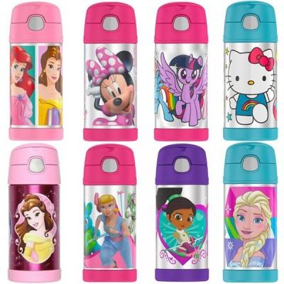 サーモス 水筒 子供 水筒カバーセット ストロー水筒 肩ひも ストラップ 355ml 女の子 ディズニー キャラクター 子供用 THERMOS