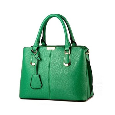 TianHengYi Womens Candy Colors Faux Leather Top-handle Handbag Shoulder Bag with Removable Long Strap Green 並行輸入品