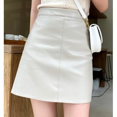 ミニスカート ハイウェストスカート レザー ショート丈 大きいサイズ ゆったり 春秋 黒 アプリコット 大人女子 10代 20代 30代 お出かけ