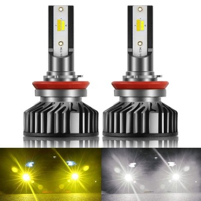 Colight 2色切替LEDヘッドライトフォグランプ H11 2色発光 ZESチップ 6500K3000K DC10V-30V 高輝度 IP67防水 片側25W 8000LM (H11H8H9)