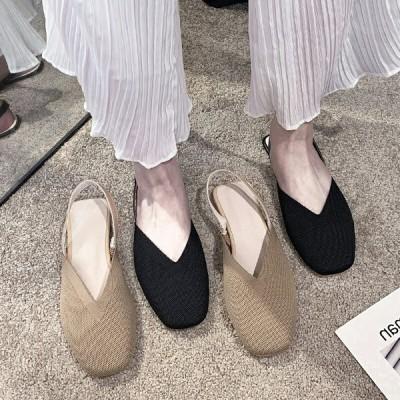 2020春夏新品 フラットサンダル パンプス レディース ローファー?シューズ スリッポン オープントゥパンプス フラットシューズ 通勤カジュアル サンダル 婦人靴