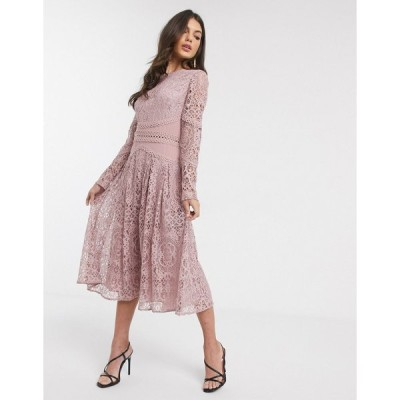 エイソス ミディドレス レディース ASOS DESIGN long sleeve prom dress in lace with circle trim details エイソス ASOS
