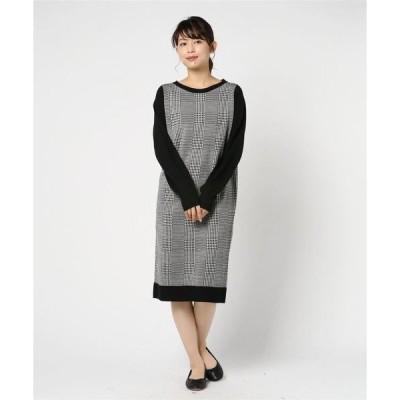 ドレス グレンチェック ニットドレス
