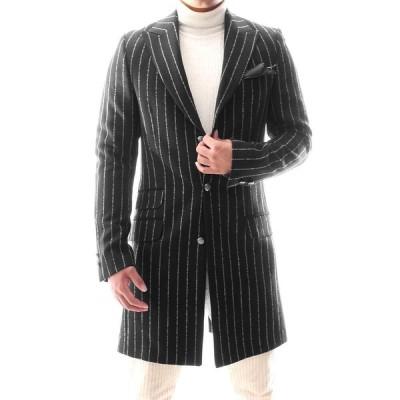 チェスターコート ハーフコート ストライプ ウール混 メンズ タイト/スリムフィット 秋/冬 大きいサイズも入荷 ビジネスコート