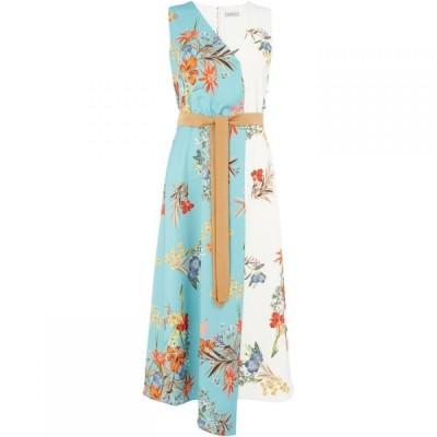 マレーラ Marella レディース ワンピース Vネック ワンピース・ドレス Elfo v neck asymmetric dress Blue