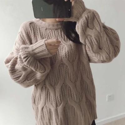 レディース ニット セーター 長袖 ゆったり プルオーバー トップス ブラック ベージュ ピンク グリーン ホワイト フリーサイズ 送料無料