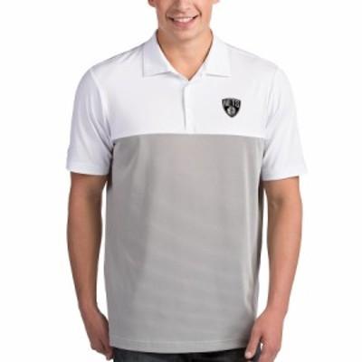 """メンズ ポロシャツ """"Brooklyn Nets"""" Antigua Venture Polo - White/Gray"""