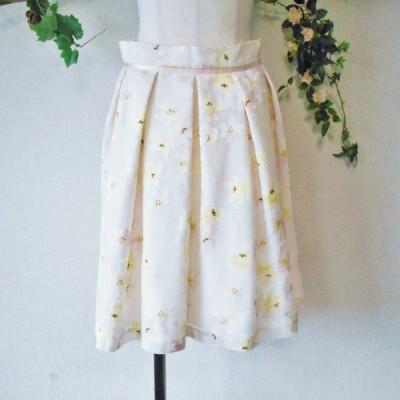 美品 レッセパッセ LAISSE PASSE 春夏 向き フラワー プリント の 可愛い スカート 日本製 38