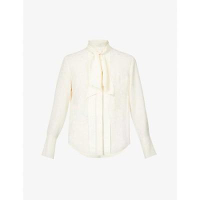 クロエ CHLOE レディース ブラウス・シャツ トップス Self-tie collar silk-jacquard shirt BUTTERCREAM