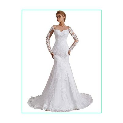 OYISHA Off Shoulder Lace Mermaid Wedding Dresses 1/2 Sleeve Bridal Gown WD162 Ivory 10並行輸入品