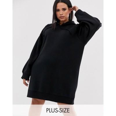 コルージョン Collusion レディース ワンピース パーカーワンピース ワンピース・ドレス COLLUSION Plus hoodie dress in black ブラック