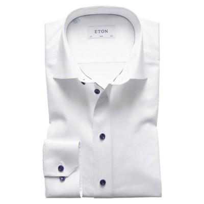 エトン シャツ トップス メンズ Slim Fit Twill Dress Shirt with Grey Details White/ Navy