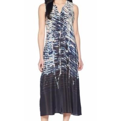 Split スプリット ファッション ドレス Nic + Zoe NEW Blue Womens Size Small S Printed Split Neck Maxi Dress