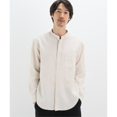 シャツ ブラウス 【WINTER LINEN】バンドカラーシャツ