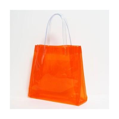 (メール便OK) (おしゃれ) (スケルトン) (透明バッグ) 抗菌 ビニールバッグ Sサイズ オレンジ(日本製)