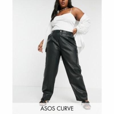 エイソス ASOS Curve レディース ボトムス・パンツ ASOS DESIGN Curve slouchy urban pant in black PU ブラック