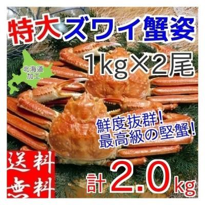 ズワイガニ 姿 2kg (1kg×2尾) ボイル 冷凍 ギフト 特大 蟹 かに 北海道加工 カニ味噌 堅蟹 ずわい蟹
