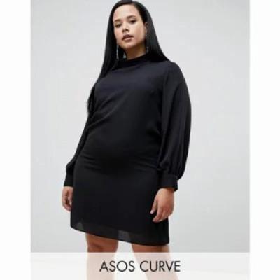 エイソス ワンピース ASOS DESIGN Curve sheer shift mini dress with high neck Black