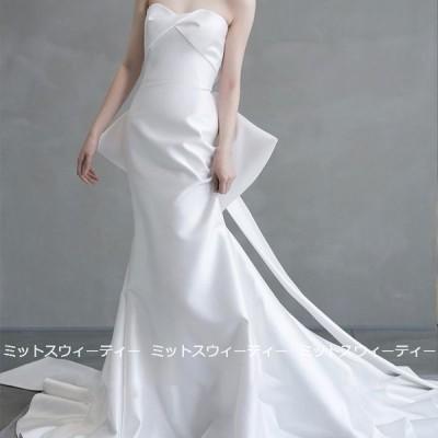 ウェディングドレス 二次会 前撮り 海外挙式 花嫁 バックレス ベアトップ フォト リゾートドレス リボン 結婚式 ブライダル パーティードレス 後撮り 写真撮影