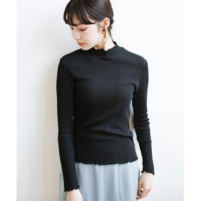 (haco!/ハコ)これさえあれば着まわし上手になれる!ひらひらがかわいい便利なハイネックカットソートップス/レディース ブラック
