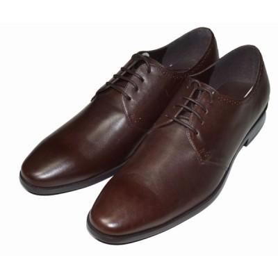 コムサイズム COMME CA ISM 本革 ビジネスシューズ プレーントゥー 茶  レザー メンズ 革靴 ブラウン レザーシューズ 47-85ZF02