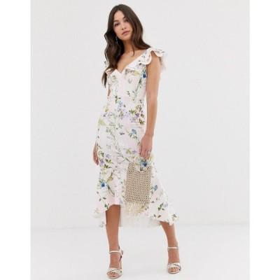 エイソス ASOS DESIGN レディース ワンピース ワンピース・ドレス Stripe floral printed ruffle midi dress Multi