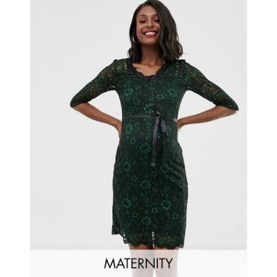 ママライシアス レディース ワンピース トップス Mamalicious maternity lace bodycon dress in green Green
