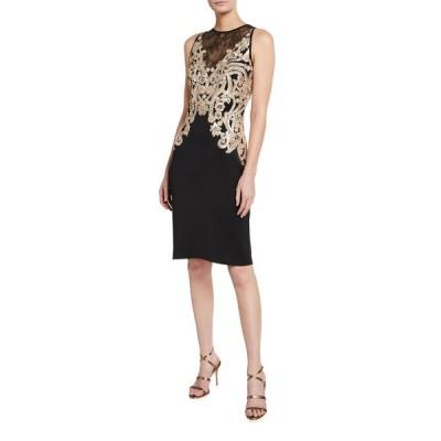 タダシショージ レディース ワンピース トップス Sequin Embellished Lace-Inset Sleeveless Neoprene Dress