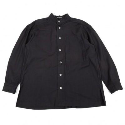 イッセイミヤケ メンISSEY MIYAKE MEN コットンスタンドカラーシャツ 濃紺M 【メンズ】