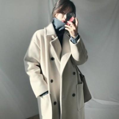 韓国 ファッション レディース チェスターコート ロングコート アウター 大きいサイズ シンプル 大人可愛い カジュアル 通勤