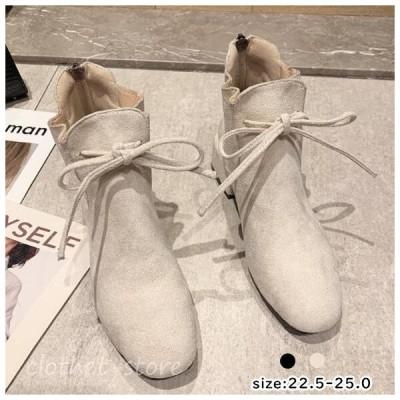 ストレッチ ショートブーツ レディース ミドルヒール ブーツ 大きいサイズ 歩きやすい秋冬