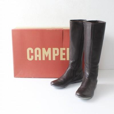 CAMPER カンペール ジップアップ レザー ロングブーツ US4ハーフ 35/ダークブラウン 2400012138599