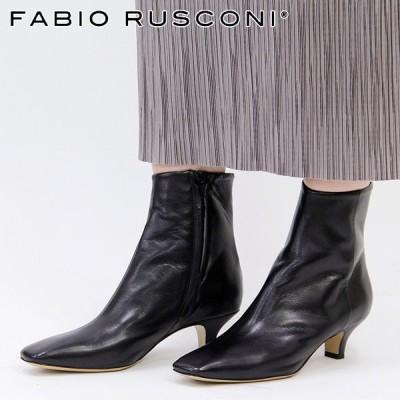 【正規品】fabio rusconi ショートブーツ ファビオルスコーニ スクエアトゥ ピンヒール 本革 ブラック/黒 レディース 1979