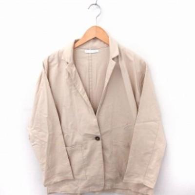 【中古】アントマリーズ Aunt Marie's ジャケット アウター テーラード 長袖 リネン混 コットン 綿 M ベージュ /FT32