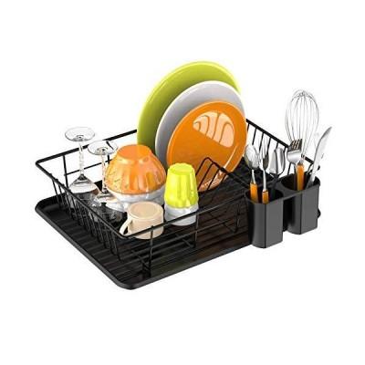 食器乾燥ラック Ace Teah 小型食器ラック 排水板付き キッチンカウンター用 ブラック