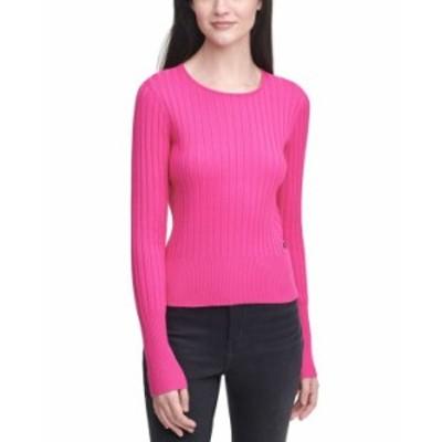カルバンクライン レディース シャツ トップス Ribbed-Knit Crewneck Sweater Electric Pink