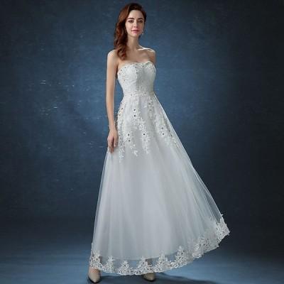 花嫁 ウエディングドレス 結婚式 安い aラインドレス 二次会 披露宴 パーティードレス ロングドレス 演奏会 エンパイアドレス ブライダル wedding dress