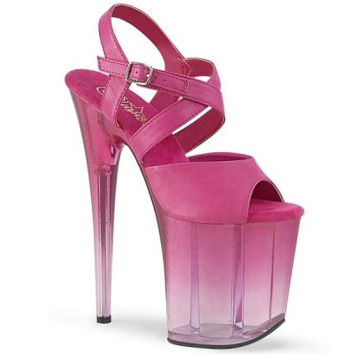 取寄せ靴 PLEASER プリーザー サンダル 20cm ヒール 赤紫 フューシャ 大きいサイズあり
