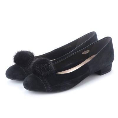 【大きいサイズ】ピッティ Pitti ファーモチーフパンプス (ブラックスエード)