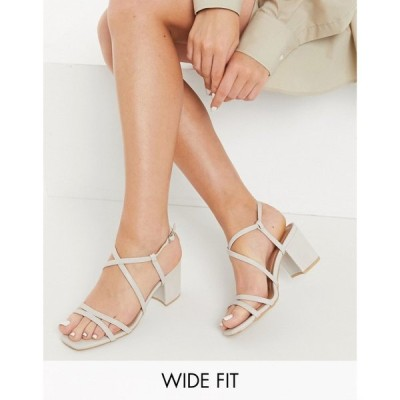 ニュールック New Look Wide Fit レディース サンダル・ミュール シューズ・靴 Strappy Block Heeled Sandal In Mink オフホワイト