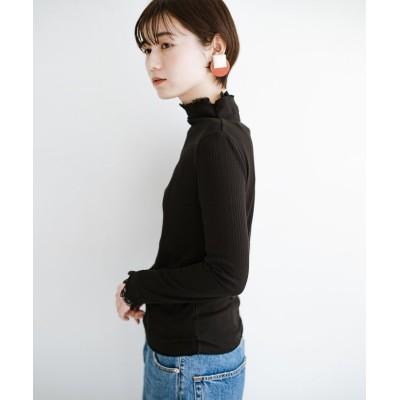【ハコ】 1枚でも重ねても便利!テレコ素材できれいに着られる衿レース付きカットソートップスby style zampa レディース ブラック M haco!