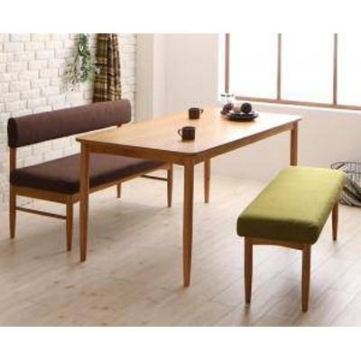 ダイニングテーブルセット 4人用 椅子 ベンチ おしゃれ 安い 北欧 食卓 3点 ( 机+長椅子1+背付ベンチ1 ) 幅150 デザイナーズ クール スタ