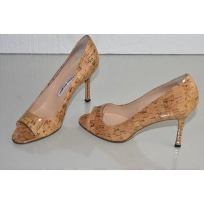 ハイヒール マノロブラニク Manolo Blahnik  Peep Toe Pumps Heels Beige Natural GLOSSY CORK Shoes 40