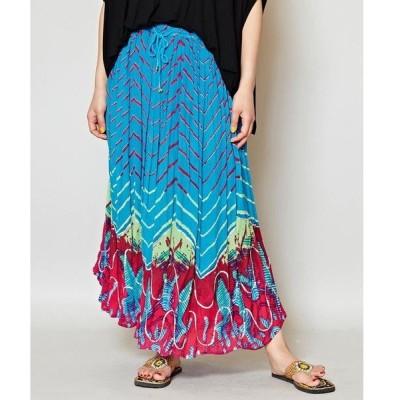 【チャイハネ】yul タイダイ風プリントスパンコール刺繍ロングスカート
