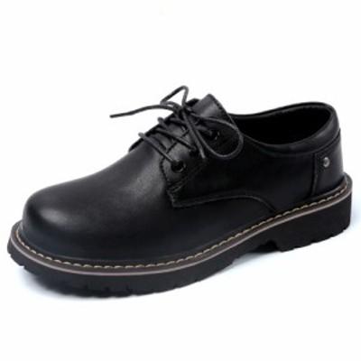 オックスフォード レディース 革靴 PU 通学 通勤 レースアップ シューズ 靴 おじ靴 ヒール カジュアル 女性 ブラック