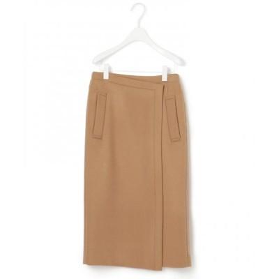 L size ONWARD(大きいサイズ)/エルサイズオンワード 【マガジン掲載】WoolRever タイトスカート(番号CJ26) キャメル系 46