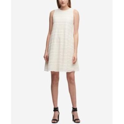 DKNY ダナキャランニューヨーク ファッション ドレス DKNY Womens Dress White Size 12 Shift Lace Striped Overlay Crewneck