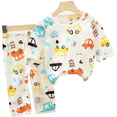 CooElc ベビー パジャマ 上下セット 7分袖 半袖 薄手 子供ルームウェア 男の子 女の子 動物柄 部屋着 寝巻 新生児 赤ちゃん 夏用パジャマ